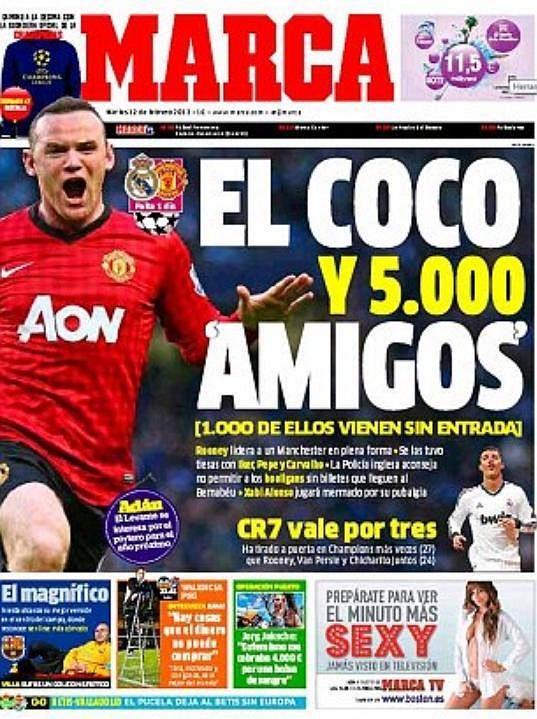 List Marca před utkáním Realu s Manchesterem United barvitě vylíčil kanonýra Waynea Rooneyho.