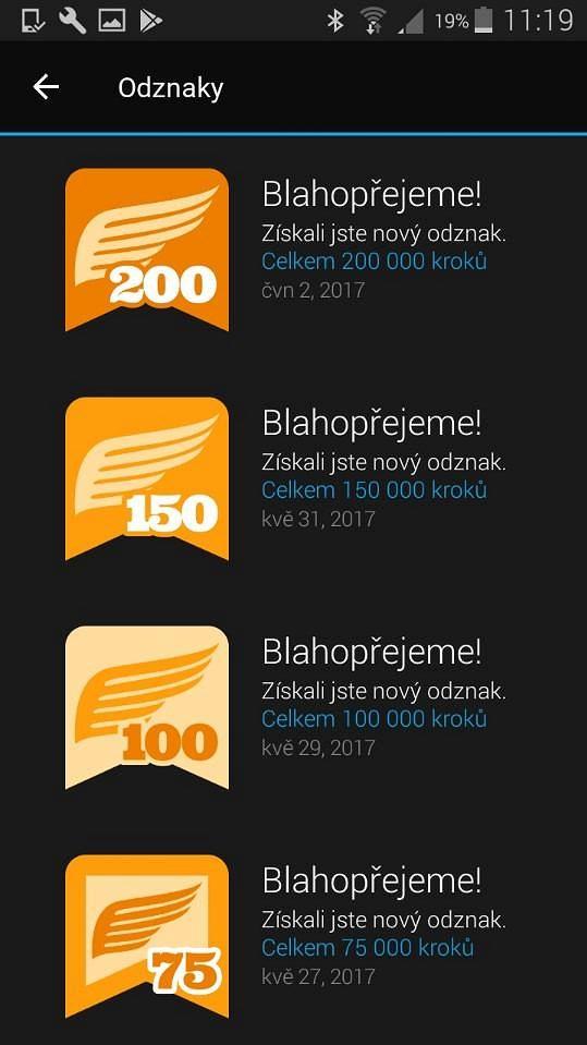 Aplikace Garmin Connect: Vaše výkony jsou odměňovány odznaky.