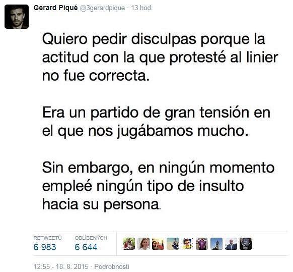 Omluva Gerarda Piquého prostřednictvím sítě Twitter.