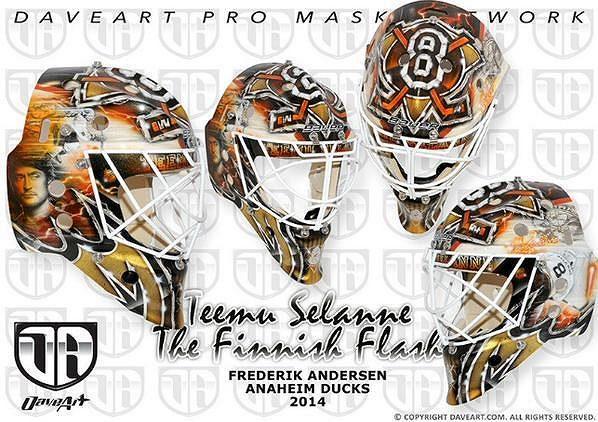 Speciální maska Frederika Andersena navržená pro večer pocty Teemu Selänneho. Masku navrhl známý designér David Gunnarson.