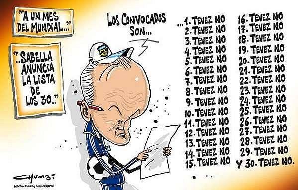 Výstižná karikatura argentinského kouče Sabelly a seznamu 30 hráčů které nominoval na MS do Brazílie - Carlos Tévez chybí.