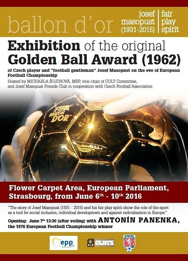 Masopustův Zlatý míč na plakátu.