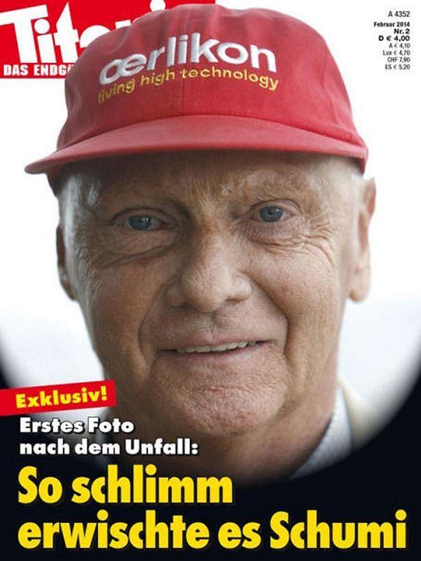 Niki Lauda na titulní straně magazínu Titanic coby Michael Schumacher.