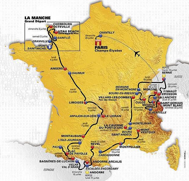 Trasa 103. ročníku Tour de France.