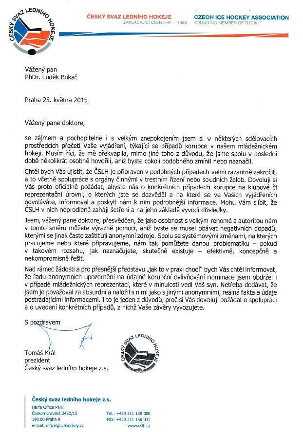 Otevřený dopis šéfa hokejového svazu Tomáše Krále Luďku Bukačovi.