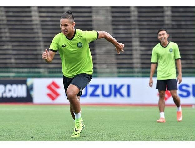 Faiq Jefri Bolkiah na tréninku brunejské fotbalové reprezentace.