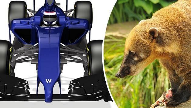 Williams FW36 s nosem jako nosál červený.