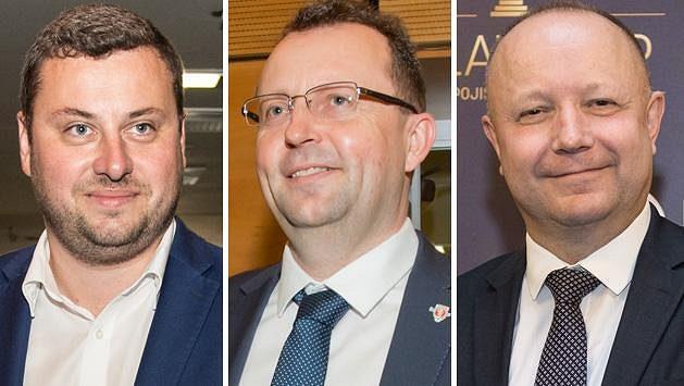 Kandiáti na předsedu FAČR. Zleva Libor Duba, Martin Malík a Petr Fousek.