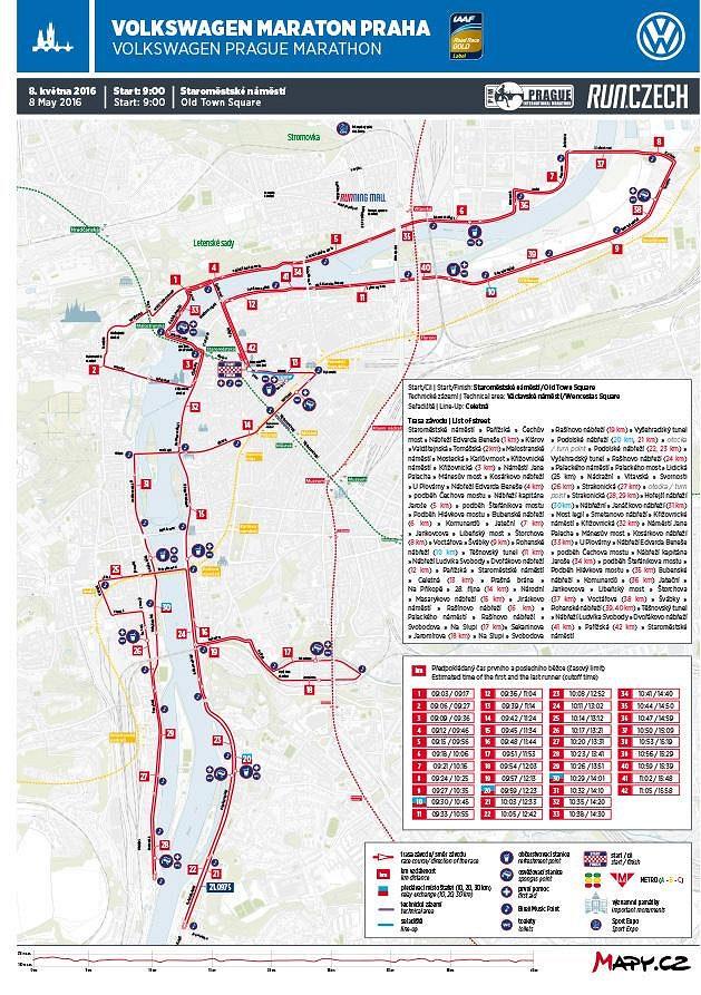 Volkswagen Maraton Praha: Přehledová mapa.