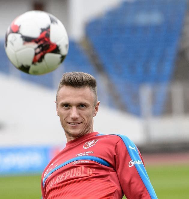 Nováček Šimon Falta během tréninku fotbalové reprezentace.