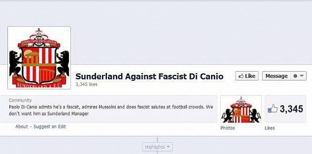 Protestní facebooková stránka fanoušků Sunderlandu