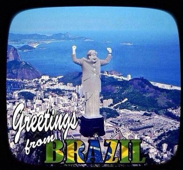 Němci dostali Brazílii na kolena, což může symbolizovat i podobizna německé kancléřky Angley Merkelové nahrazující slavnou sochu Ježíše Krista.