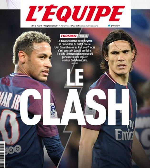 Spor Neymara s Cavanim na titulní straně francouzského deníku.