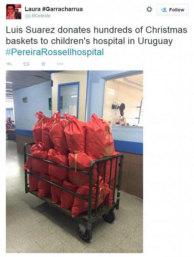 Dárkové koše, které Luis Suárez zaslal dětem.