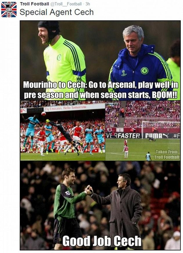 Dobrá práce, mohl ocenit kouč Chelsea José Mourinho výkon Petra Čecha v bráně konkurenčního Arsenalu.