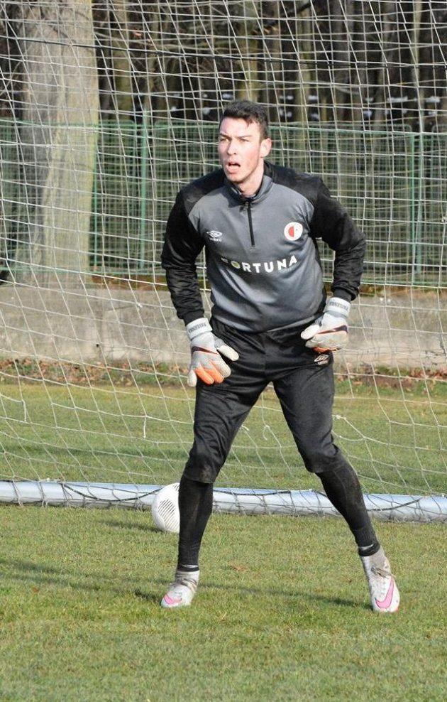 Brankář Slavie Jiří Pavlenka během tréninku v Nymburce.