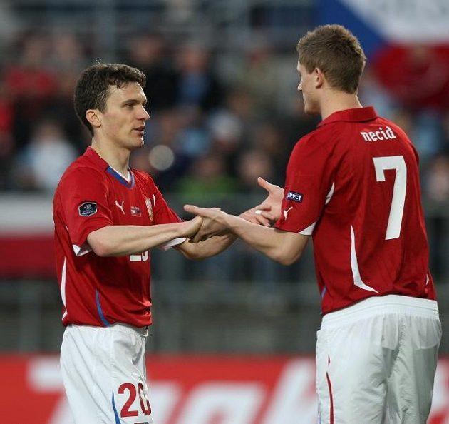 David Lafata (vlevo) a Tomáš Necid si podávají ruce v reprezentačním dresu. Nominace na Holanďany je ovšem volná jen pro jednoho z nich...