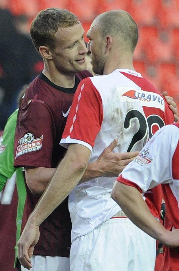 Bod nakonec brali oba... Staří známí Jiří Jarošík (vlevo) ze Sparty i Martin latka ze Slavie.