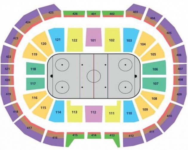 Cenová mapa vstupenek pro přípravný zápas hokejové reprezentace s Ruskem před Světovým pohárem.