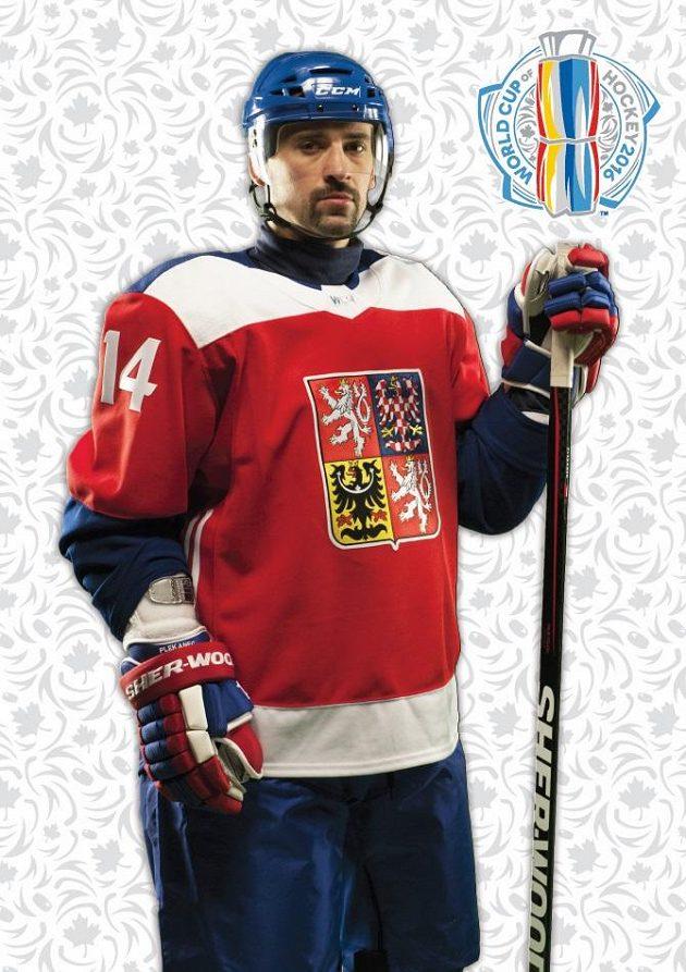Tomáš Plekanec v dresu české hokejové reprezentace pro Světový pohár.