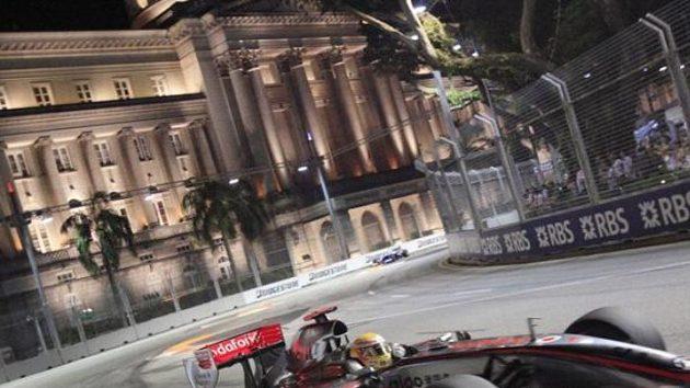 Lewis Hamilton při Velké ceně Singapuru.