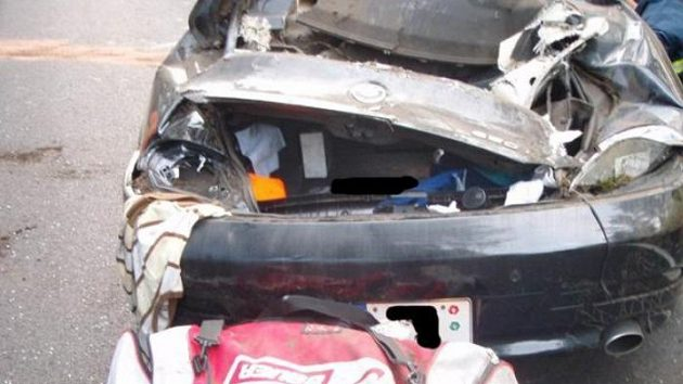 Zdemolovaný vůz BMW Jakuba Klepiše