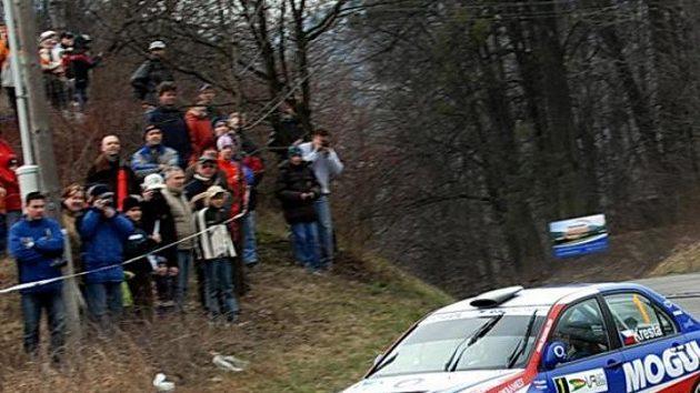 Roman Kresta na trati Valašské rallye.