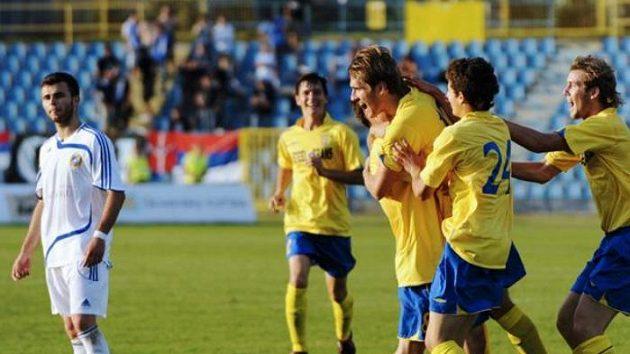 Fotbalisté Košic oslavují výhru nad Sarajevem