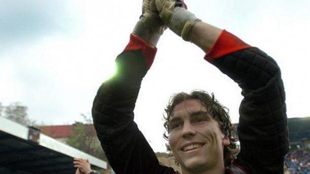 Marek Čech se raduje z mistrovského titulu Liberce v roce 2006.