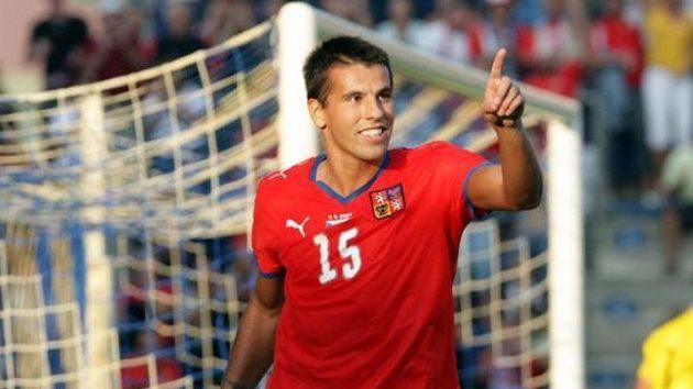Šťastný střelec Milan Baroš při utkání proti San Marinu.