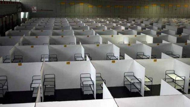 Ubytovací hala ve FanCampu v Dortmundu
