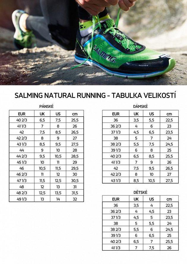 Salming - tabulka velikostí