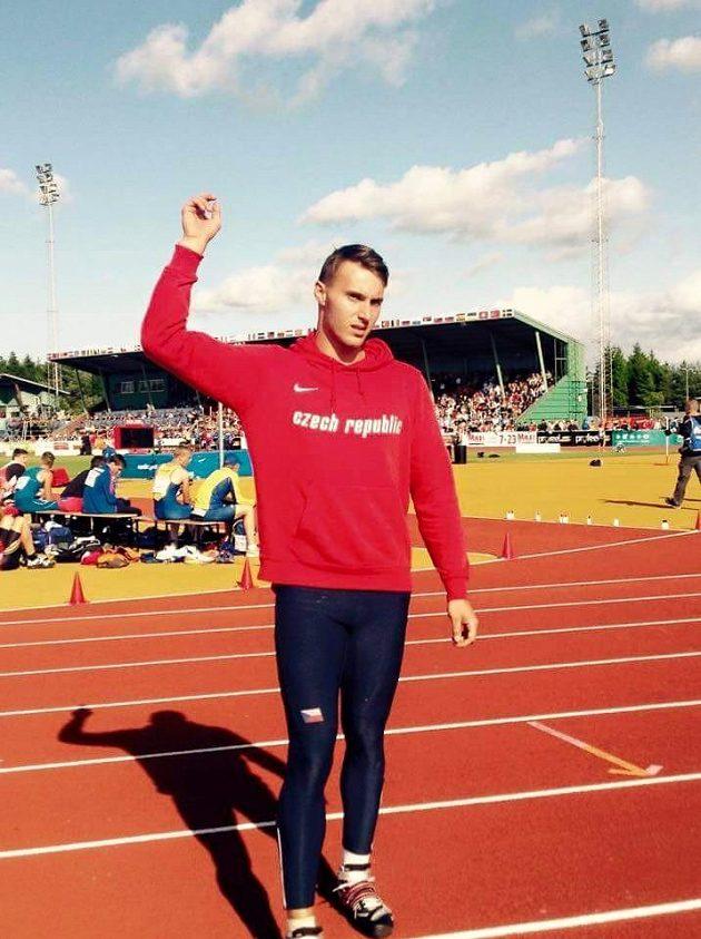 Vícebojař Jan Doležal při juniorském mistrovství Evropy v Eskilstuně.