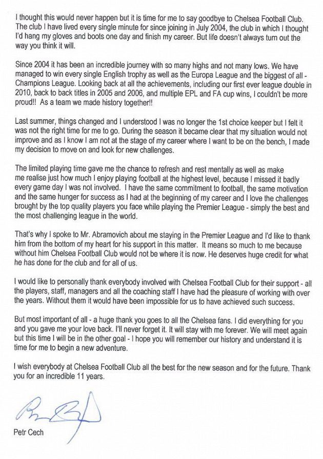 Dopis Petra Čecha fanouškům Chelsea