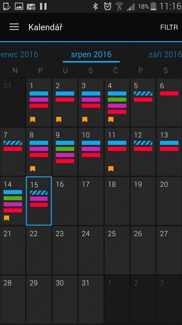 """Garmin Forerunner 735XT: Aplikace má i přehledný """"akční"""" kalendář."""
