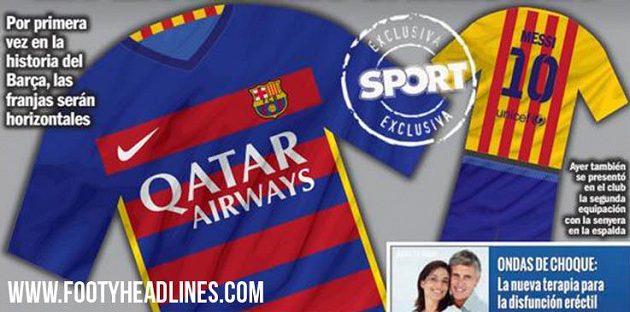 Takhle by v příští sezóně měly vypadat domácí a venkovní (žluté) dresy Barcelony. Návrh otiskl španělský deník Sport.