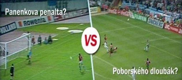 Ve finále ankety proti sobě stojí Panenkova bělehradská penalta a dloubák Karla Poborského z Eura 1996.