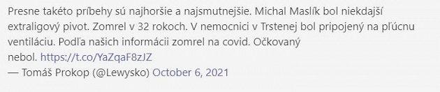 Tweet šéfredaktora basket.sk Tomáše Prokopa