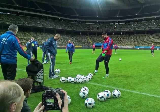 Brankář Tomáš Koubek před začátkem tréninku fotbalové reprezentace ve Stockholmu.