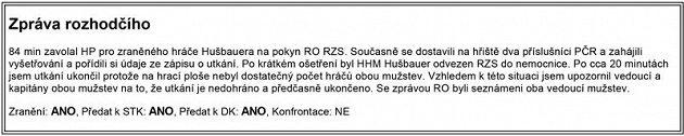 Zpráva rozhodčího po utkání Radlík - Hvozdnice B.