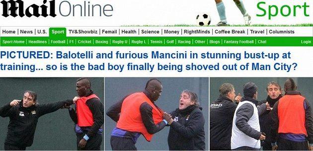 Balotelli si šel s trenérem Mancinim po krku.