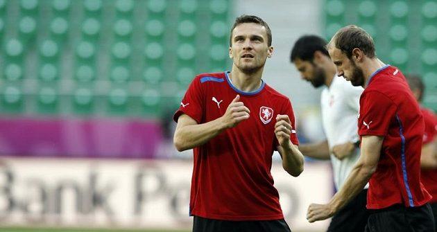 David Lafata na tréninku fotbalové reprezentace před zápasem s Polskem