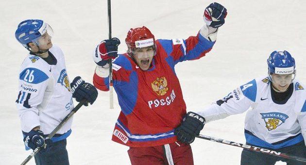 Alexander Ovečkin se raduje, právě vstřelil třetí gól zápasu