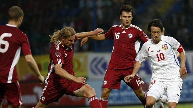 Tomáš Rosický v přátelském utkání proti Lotyšsku