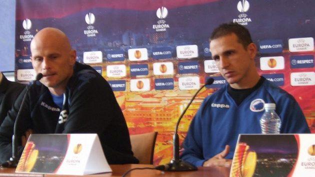 Zdeněk Pospěch na tiskové konferenci se Stalem Solbakkenem, trenérem FC Kodaň.