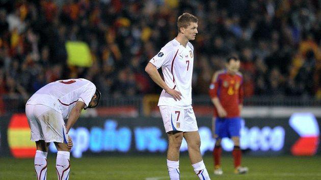 Tomáš Necid a Milan Baroš neskrývají zklamání z porážky ve Španělsku.