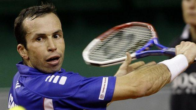 Tenista Radek Štěpánek v souboji s Davidem Ferrerem ve finále Davis Cupu