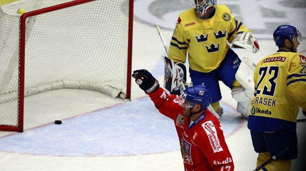 Jiří Novotný se raduje z branky do sítě Švéda Liva.