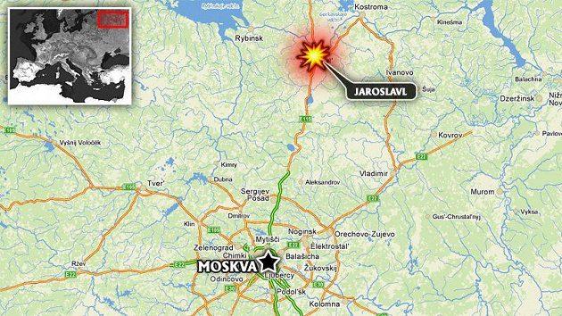 Město Jaroslavl vzdálené 250 km od Moskvy