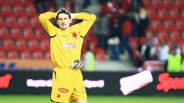Smutný slávistický brankář Martin Vaniak po prohraném derby se Spartou.